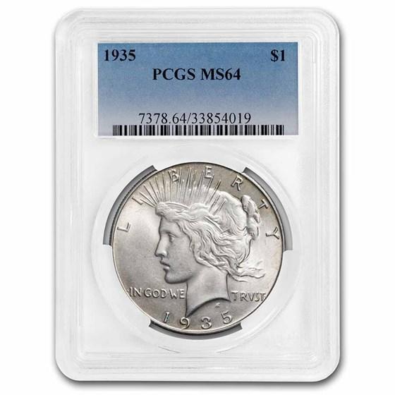 1935 Peace Dollar MS-64 PCGS