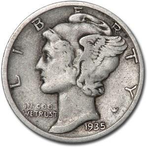 1935-S Mercury Dime XF