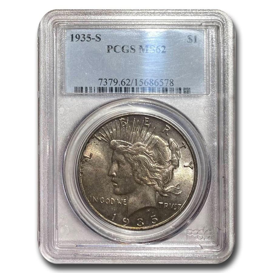 1935-S Peace Dollar MS-62 PCGS