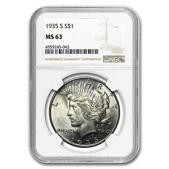 1935-S Peace Dollar MS-63 NGC