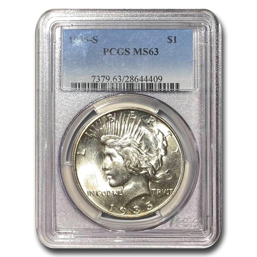 1935-S Peace Dollar MS-63 PCGS