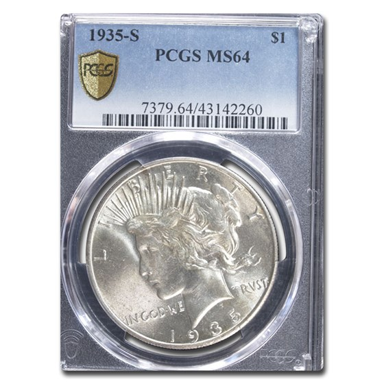 1935-S Peace Dollar MS-64 PCGS