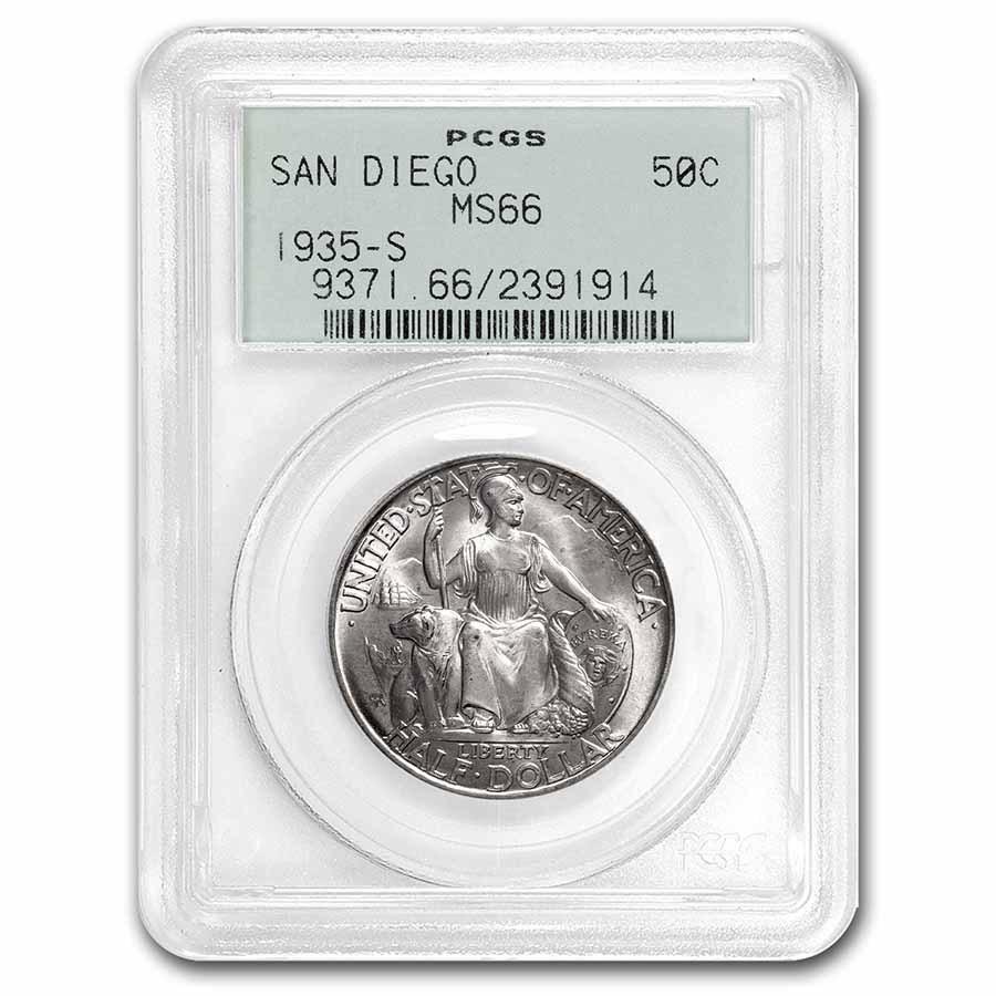 1935-S San Diego Half Dollar Commem MS-66 PCGS