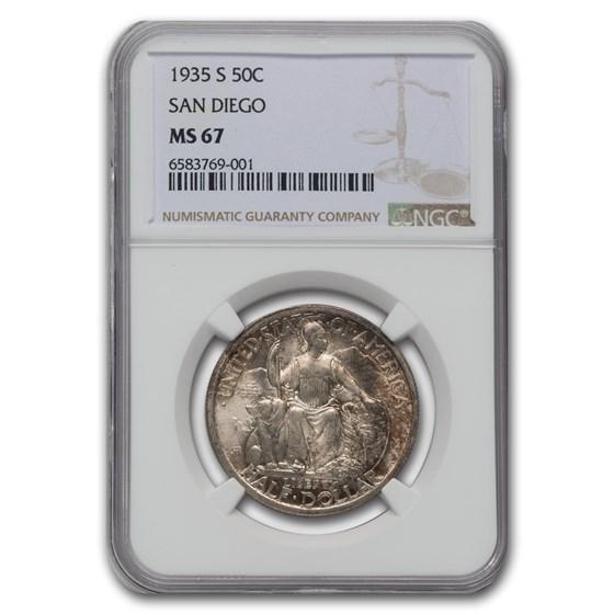 1935-S San Diego Half Dollar MS-67 NGC