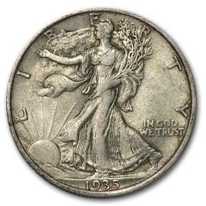 1935 Walking Liberty Half Dollar XF