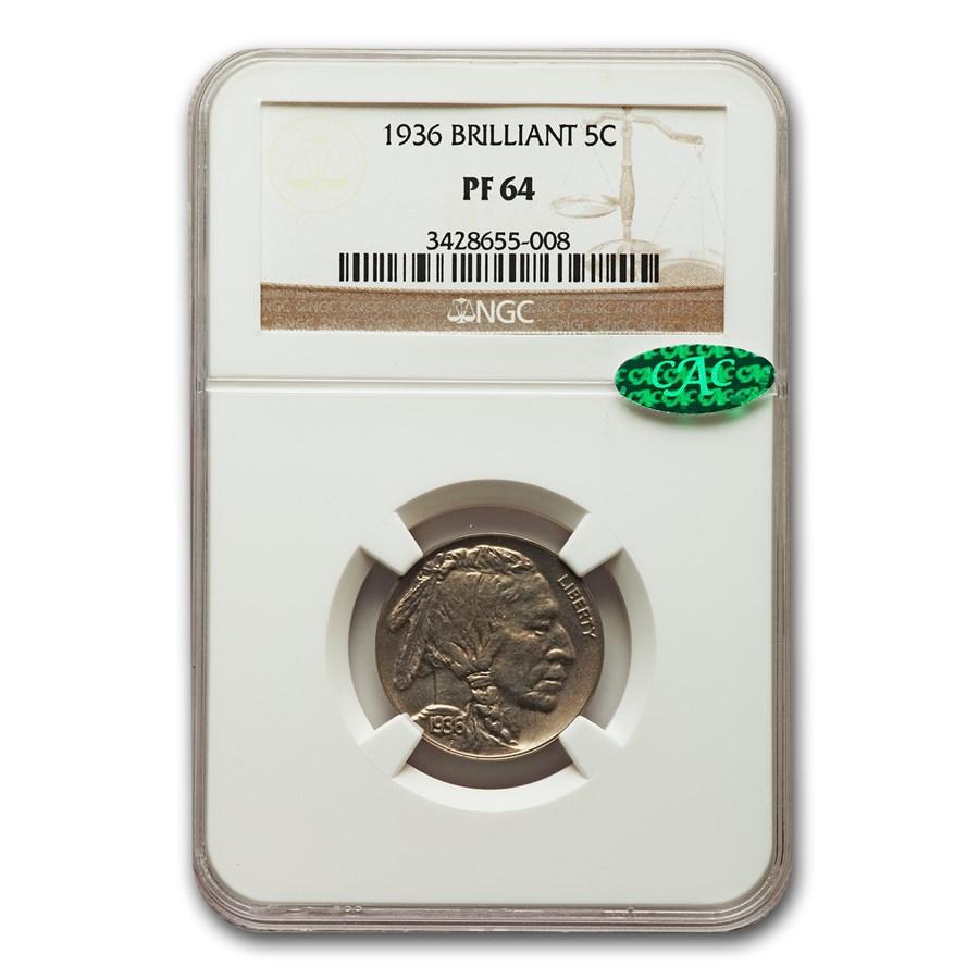 1936 Buffalo Nickel PF-64 NGC CAC (Brilliant)