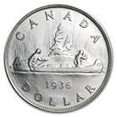 1936 Canada Silver Dollar George V AU