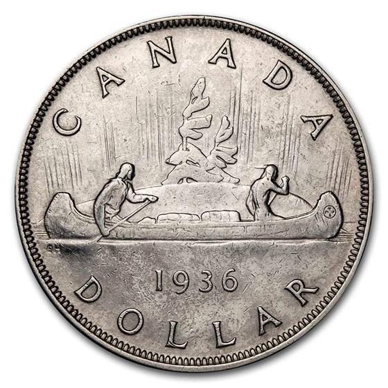 1936 Canada Silver Dollar George V Avg Circ