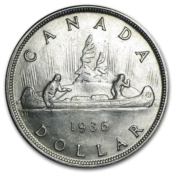 1936 Canada Silver Dollar George V BU