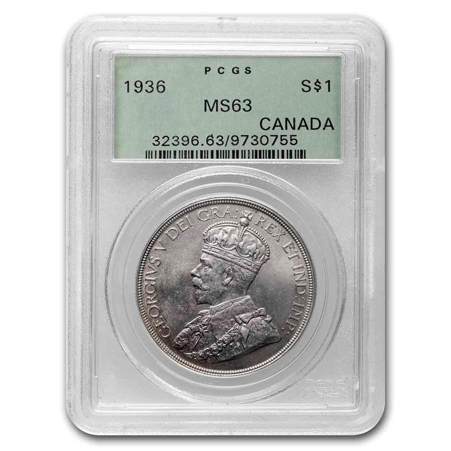 1936 Canada Silver Dollar George V MS-63 PCGS
