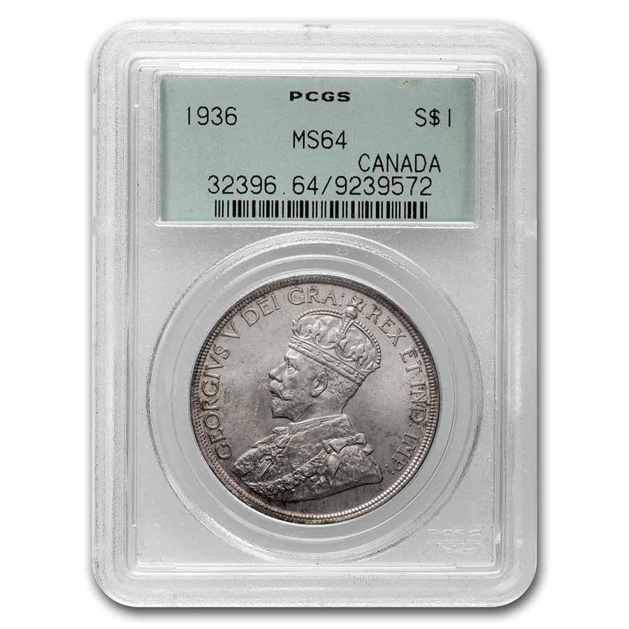 1936 Canada Silver Dollar George V MS-64 PCGS