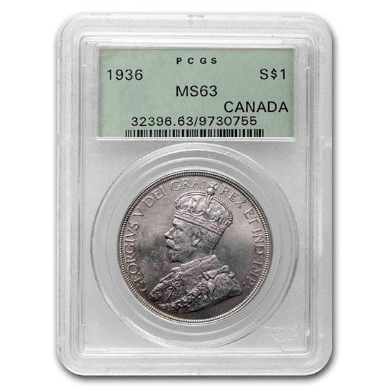 1936 Canada Silver Dollar King George V MS-63 PCGS