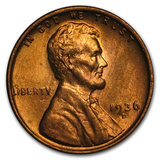 1936-D Lincoln Cent BU (Red)