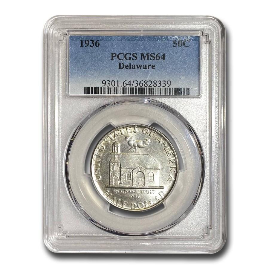 1936 Delaware Tercentenary Half Dollar MS-64 PCGS
