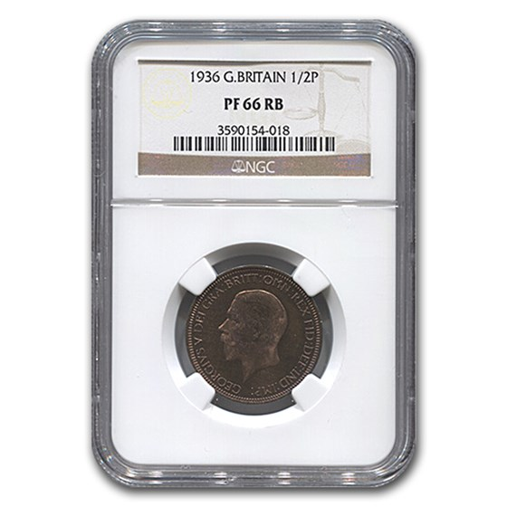 1936 Great Britain 1/2 Penny George V PF-66 NGC (Red/Brown)