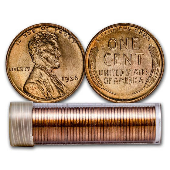 1936 Lincoln Cent 50-Coin Roll BU