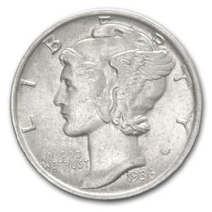 1936 Mercury Dime AU
