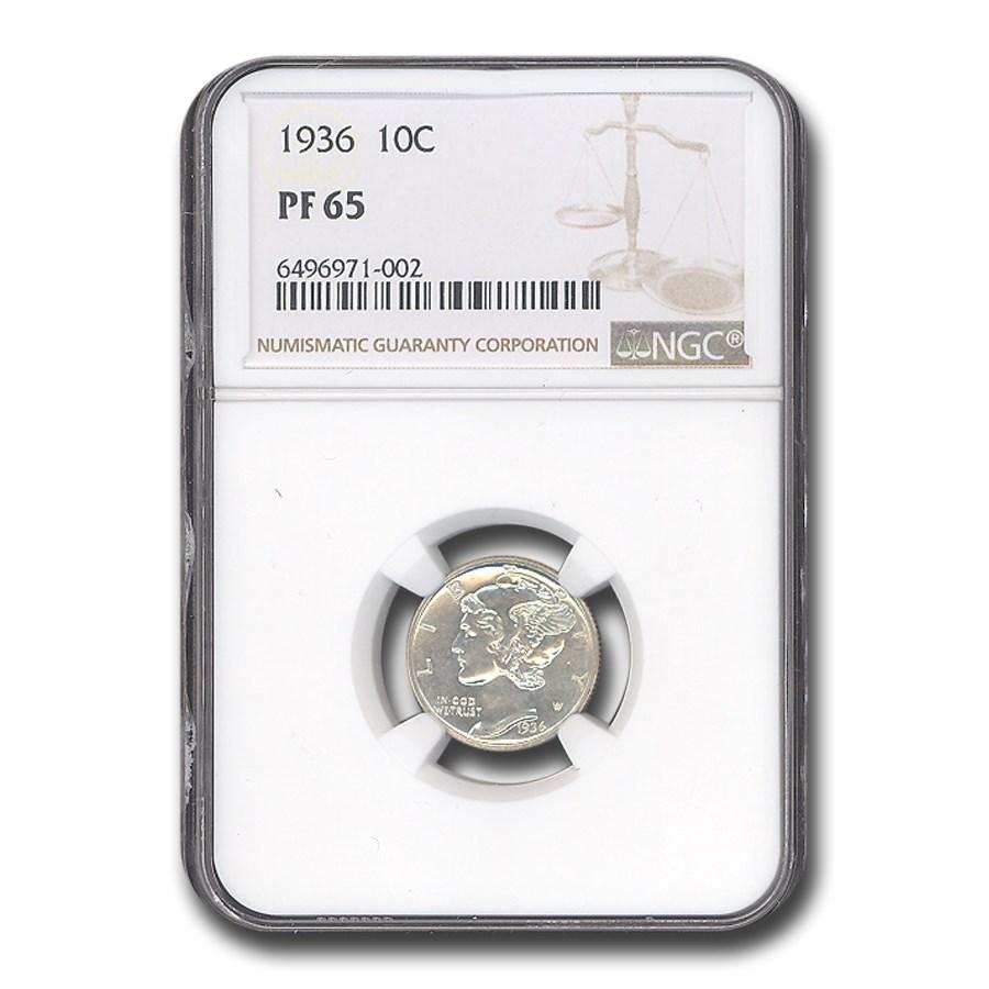 1936 Mercury Dime PF-65 NGC