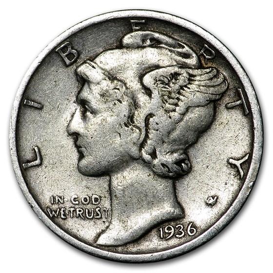 1936 Mercury Dime XF
