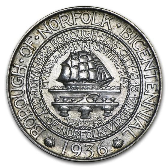1936 Norfolk Bicentennial Half Commem BU