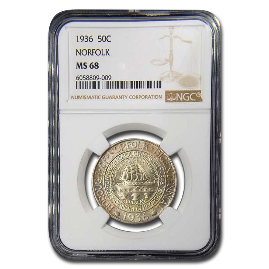 1936 Norfolk Silver Commemorative Half Dollar MS-68 NGC