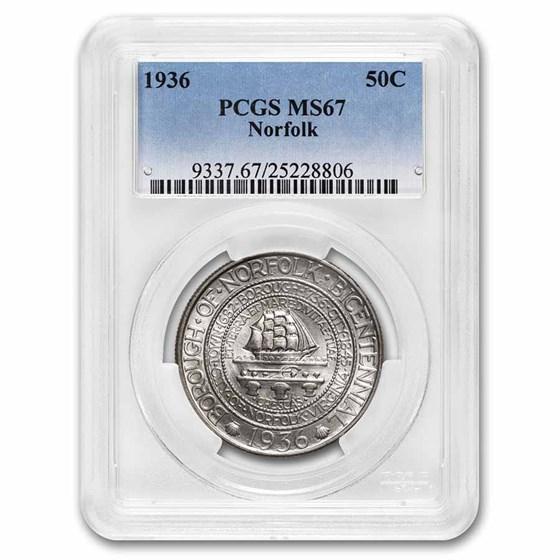 1936 Norfolk, VA Commemorative Half Dollar MS-67 PCGS
