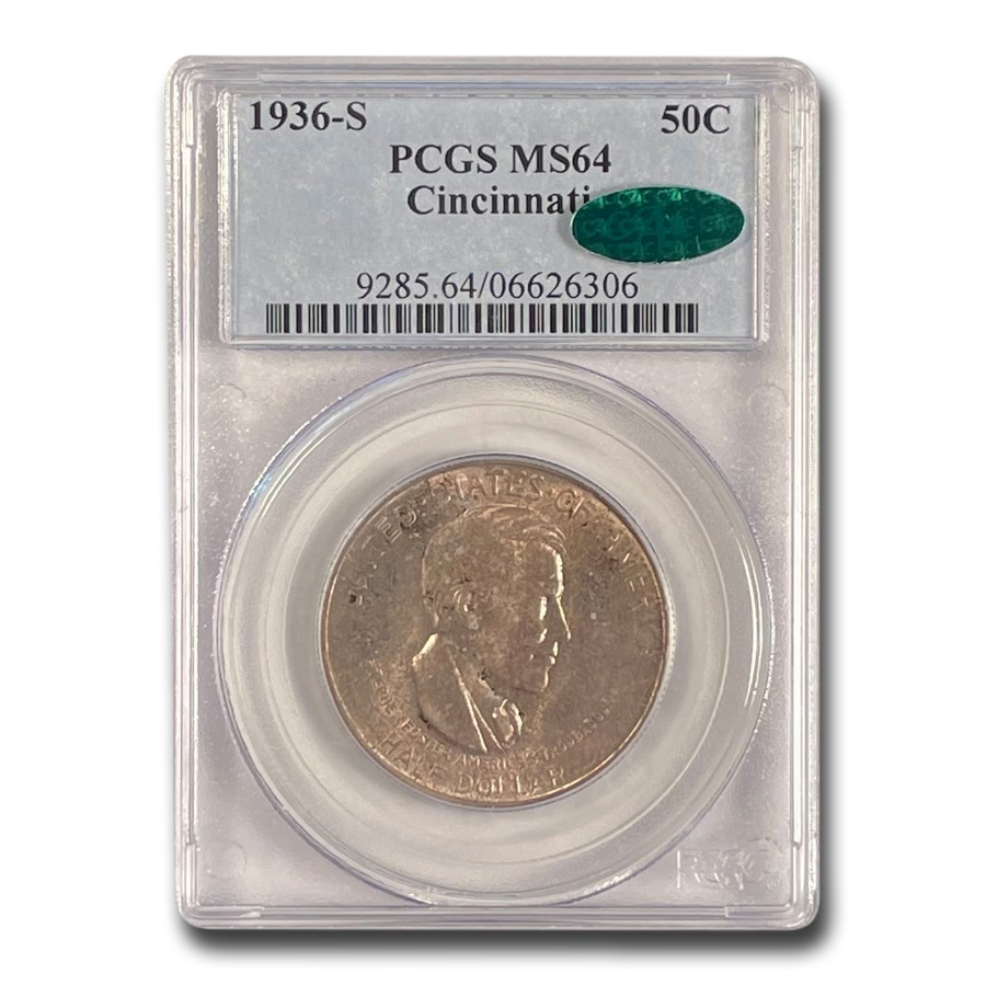 1936-S Cincinnati Half Dollar Commem MS-64 PCGS CAC