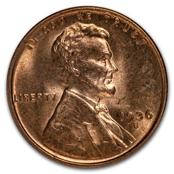 1936-S Lincoln Cent BU (Red/Brown)