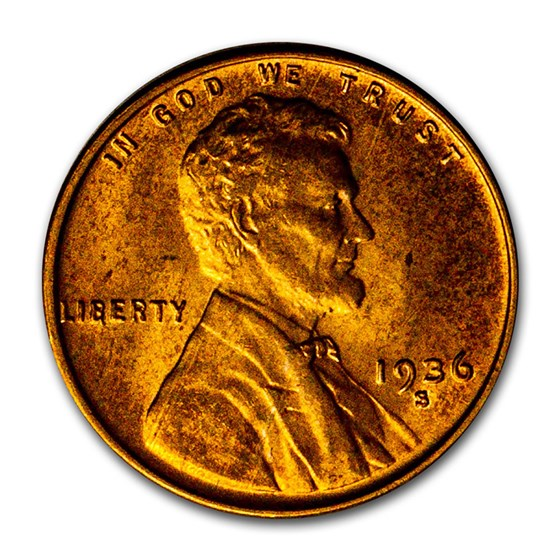 1936-S Lincoln Cent BU (Red)