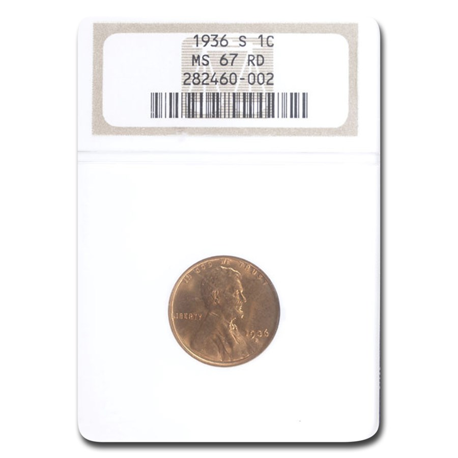 1936-S Lincoln Cent MS-67 NGC (Red)