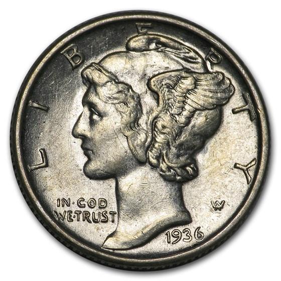1936-S Mercury Dime AU