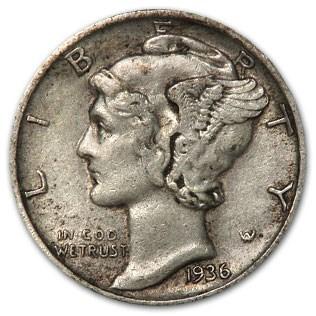 1936-S Mercury Dime XF