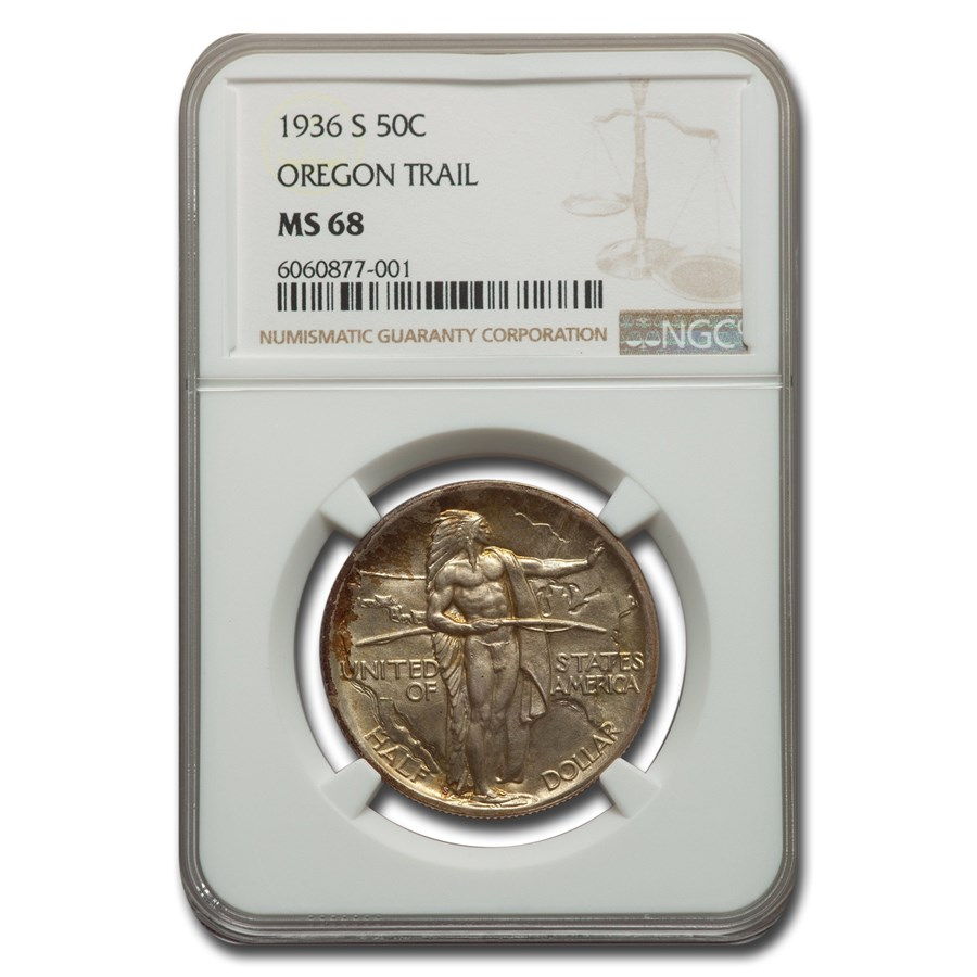1936-S Oregon Trail Commemorative Half Dollar MS-68 NGC