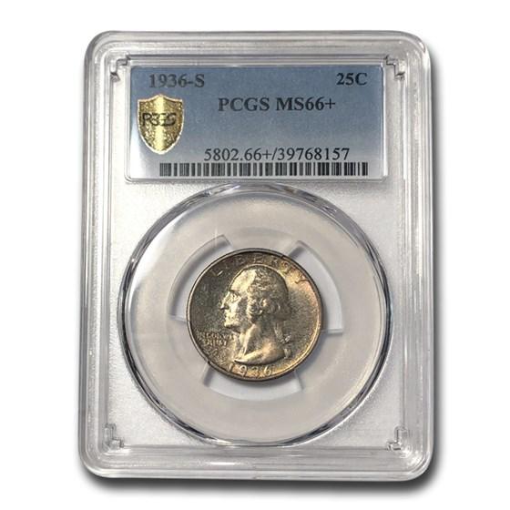 1936-S Washington Quarter MS-66+ PCGS