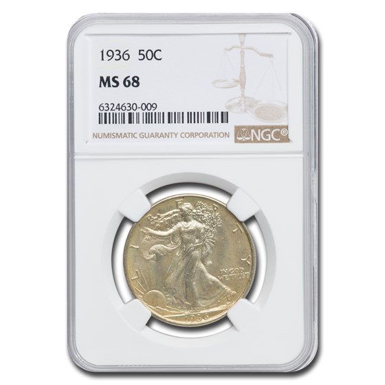 1936 Walking Liberty Half Dollar MS-68 NGC