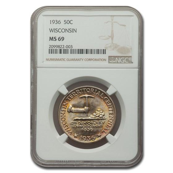 1936 Wisconsin Half Dollar Centennial MS-69 NGC