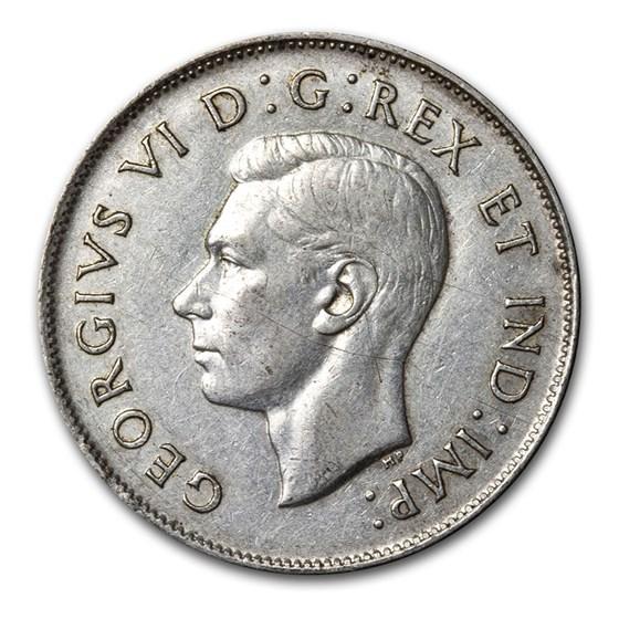 1937-1947 Canada Silver 50 Cents George VI Avg Circ