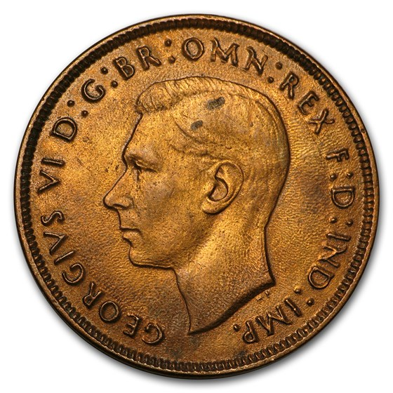 1937-52 George VI Penny Large Head Average Circ. (Random Coin)