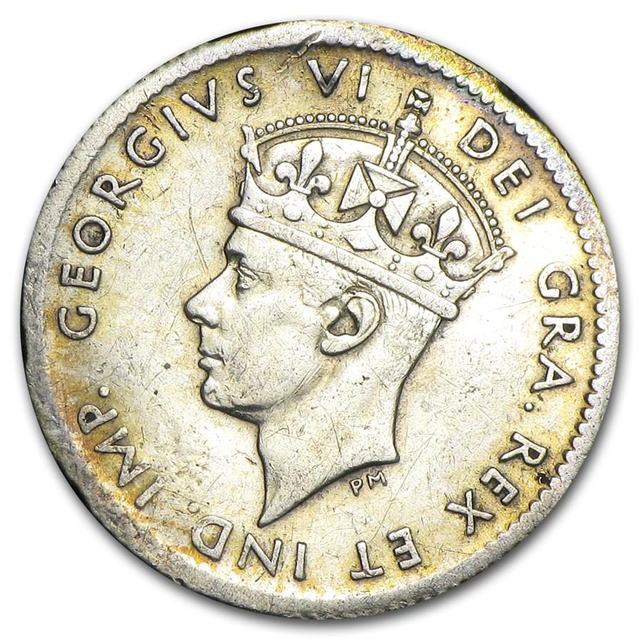 1937-52 Newfoundland 5 Cents .925 Silver Avg Circ (Random Dates)