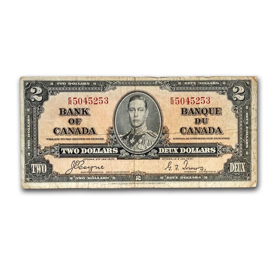 1937 Canada $2.00 George VI/Allegorical Figure Avg Circ (P-59c)