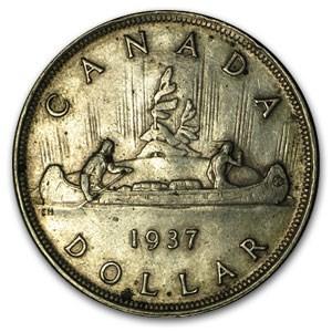 1937 Canada Silver Dollar XF (Rev toning)