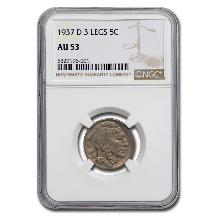 1937-D 3 Legged Buffalo Nickel AU-53 NGC