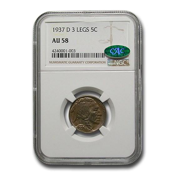 1937-D 3 Legged Buffalo Nickel AU-58 NGC CAC