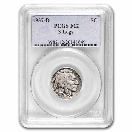 1937-D 3 Legged Buffalo Nickel Fine-12 PCGS