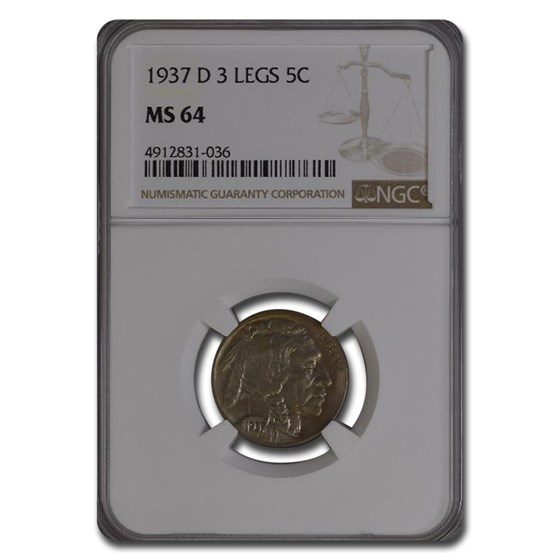 1937-D 3 Legged Buffalo Nickel MS-64 NGC