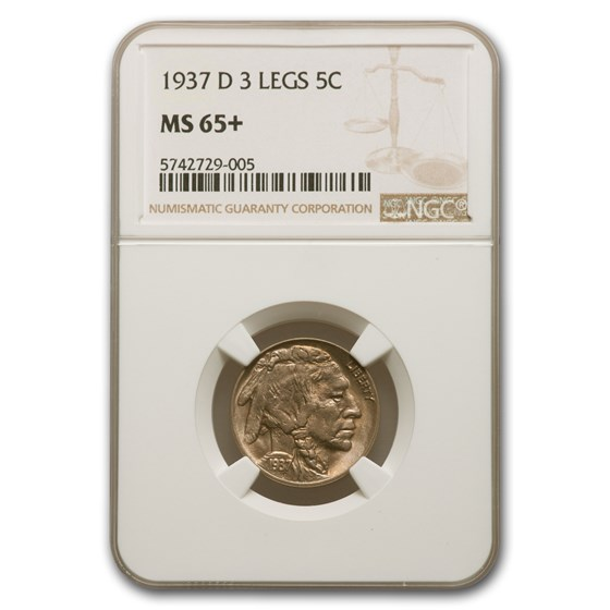 1937-D 3 Legged Buffalo Nickel MS-65+ NGC