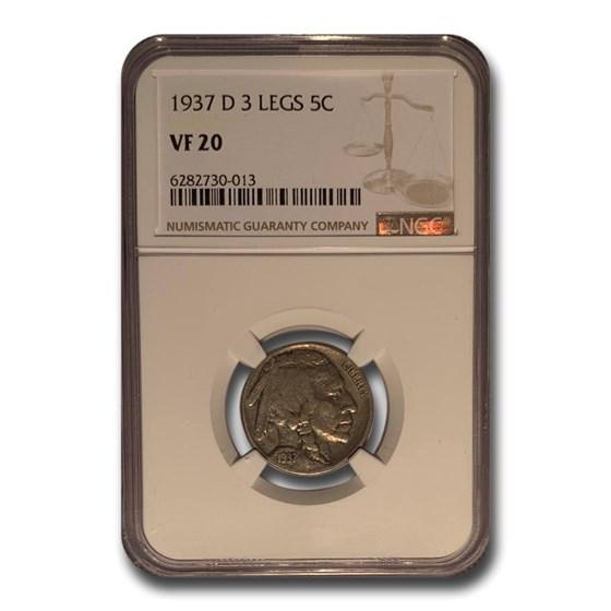 1937-D 3 Legged Buffalo Nickel VF-20 NGC