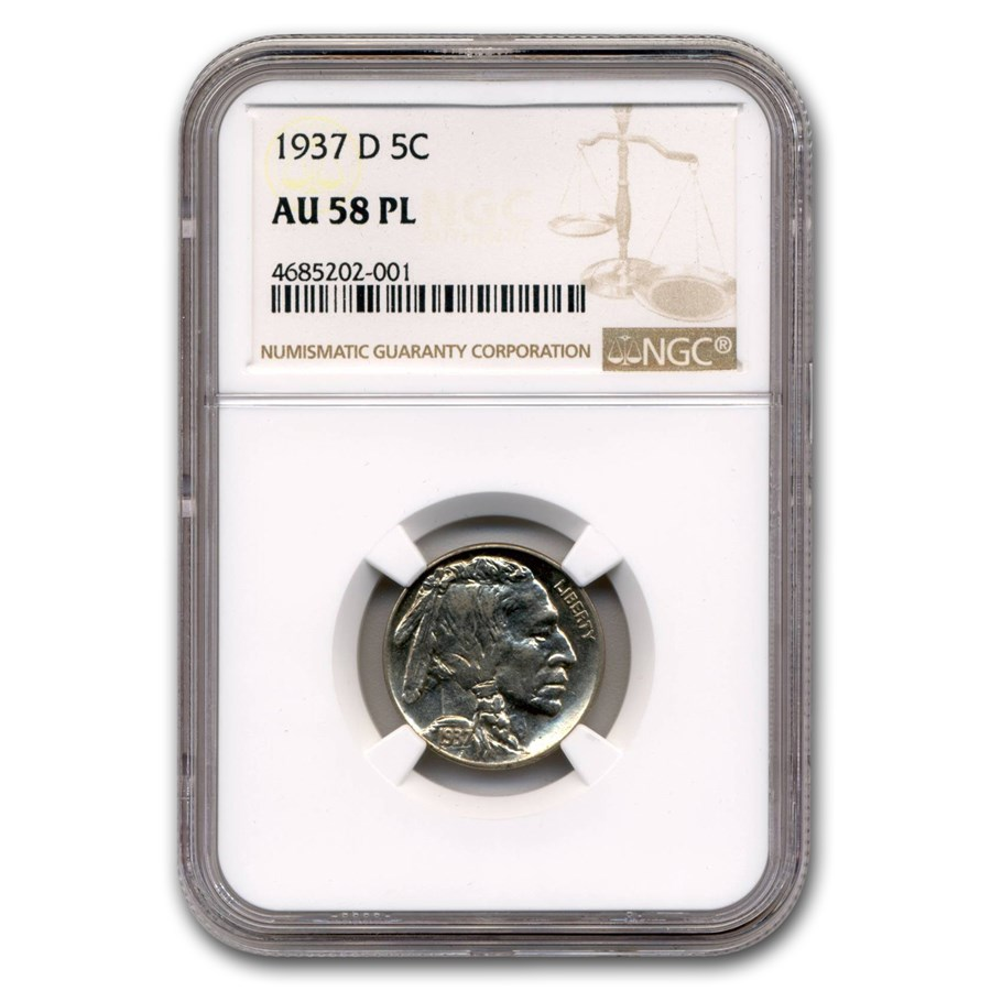 1937-D Buffalo Nickel AU-58 NGC (PL)
