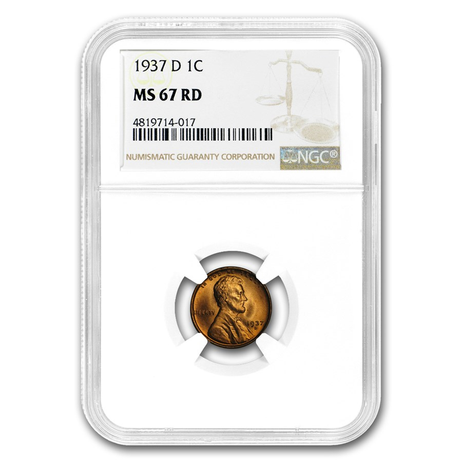 1937-D Lincoln Cent MS-67 NGC (Red)