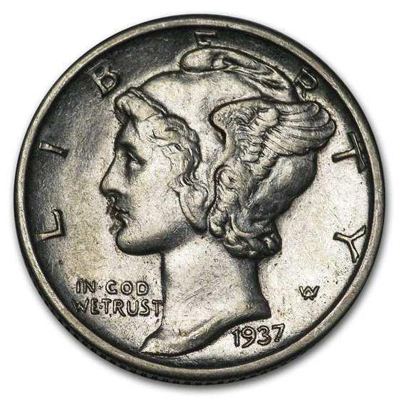 1937-D Mercury Dime AU